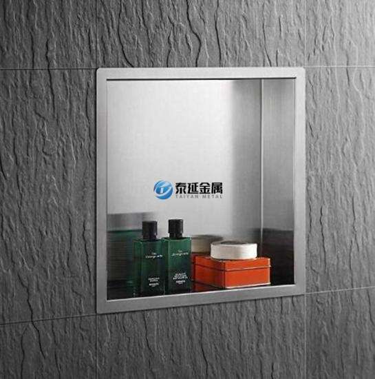 Washroom recessed shampoo shelves